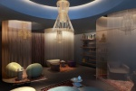 Samyama zen lounge featuring Italian wind chime chandeliers and 'pods' encircled with sheer drapes